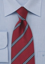 Extra Long Regimental Tie in Deep Red