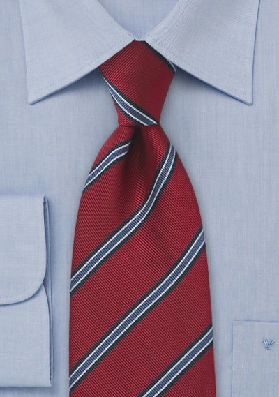 Regimental Tie in Deep Red
