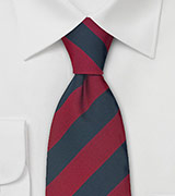 Extra Long Regimental Tie in Red and Navy