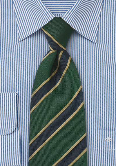 British Tie in Gold, Navy and Green