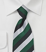 XL Repp Stripe Tie in Green, Silver, and Black