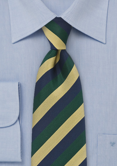 Regimental Tie in Navy, Green and Gold
