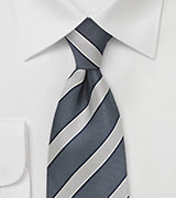 Men's Striped Tie in Navy and Silver