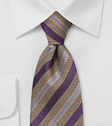 Striped Tie in Purple and Gold