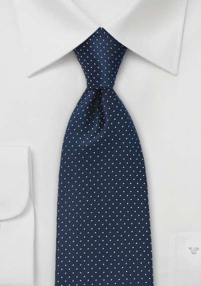 Navy and White Patterned Tie