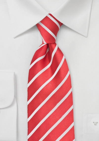Bright Red and White Striped Tie