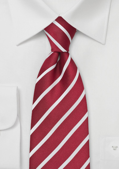 XL Classic Red and White Striped Tie