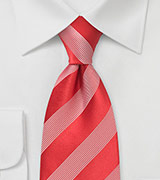 Bright Red Tie with White Stripes