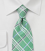 Men's Plaid Tie in Spring Green