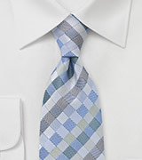 Light Blue and Silver Diamond Tie