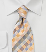 Patchwork Tie in Yellows and Blues