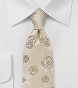 Embroidered Rose Tie in Champagnes