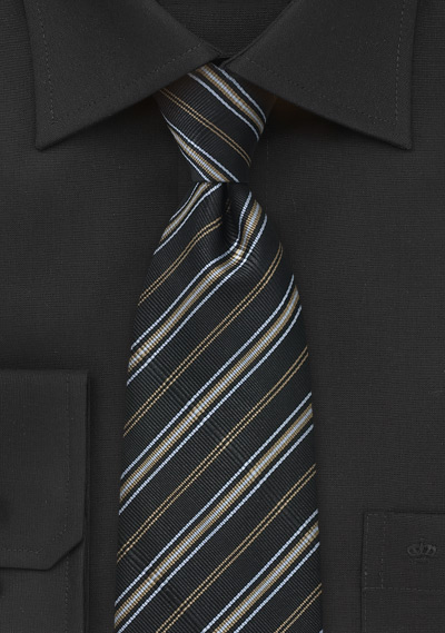 Ribbed Tie in Black, Gold and Silver