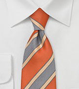 Modern Striped XL Length Tie in Orange