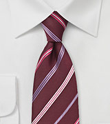 Modern Maroon and Lilac Tie