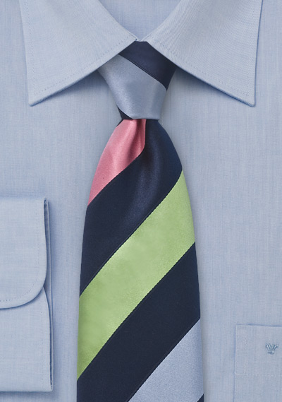 Modern Tie in Blues, Greens and Pink