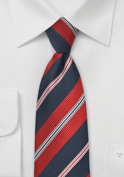 Modern Navy and Red Tie