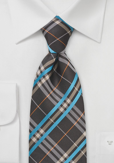 Modern Plaid Tie in Mahogany and Blue