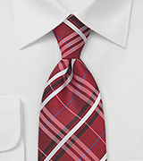 Extra Long Plaid Tie in Red, Silver and Blue