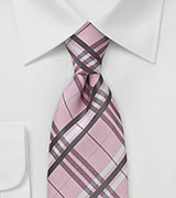Graphic Plaid Tie in Soft Pink