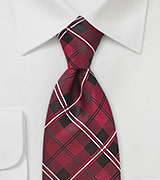 Scarlet Red Plaid Tie