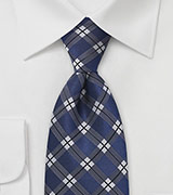 Modern Plaid Tie in Royal Blue