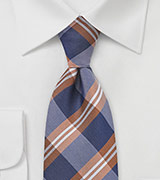 Modern Plaid Tie in Blue and Copper