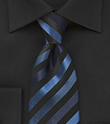 Modern Striped Tie in Blacks and Blues