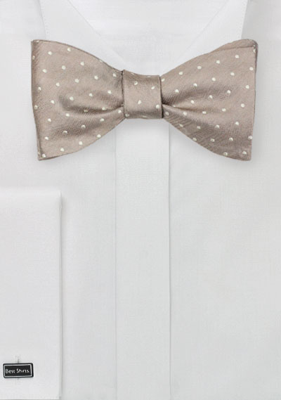 Fawn Colored Polka Dot Bow Tie