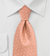 Peach Orange Polka Dot Silk Tie in XL Length