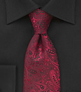 Kids Floral Tie in Red and Black