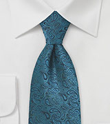 XL Length Paisley Tie in Teal and Black