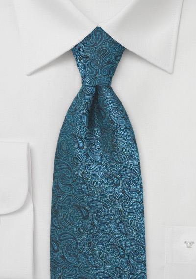 Elaborate Paisley Tie in Teal and Black