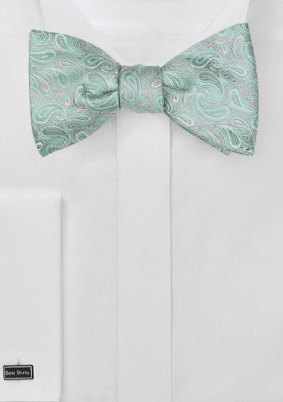 Paisley Bow Tie in Mint and Silver