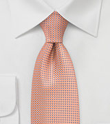 Patterned Tie in Mango and Blue