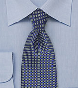 Mens Patterned Tie in Sapphire Blue