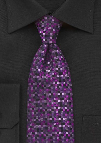 Square Patterned Tie in Amethyst