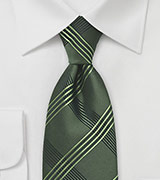 Plaid Tie in Dark Green and Black