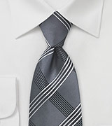 Urban Plaid Tie in Graphite Grey