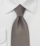 Retro Print Tie in Pewter, Copper, Black