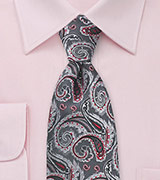 Paisley Tie in Charcoals and Reds