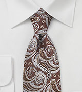 Chocolate Brown Paisley Silk Tie