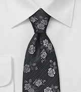 Floral Patterned Tie in Black and Silver