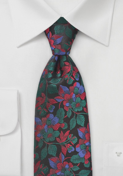 Embroidered Floral Tie in Red and Green