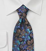 Floral Pattern Tie in Teals and Blues