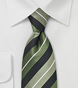 Striped Tie in Sage Greeens