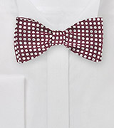 Geometric Polka Dot Bow Tie in Burgundy