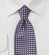 Deep Purple and Silver Polka Dot Tie