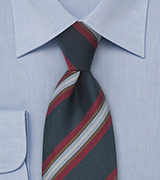 Wide Striped Tie in Navy and Red