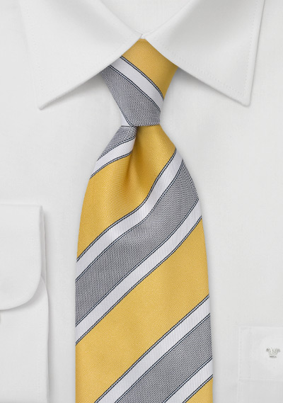 Graphic Striped Tie in Lemon
